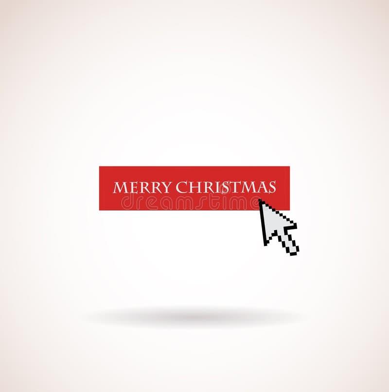 Красная с Рождеством Христовым кнопка с стрелкой компьютера бесплатная иллюстрация