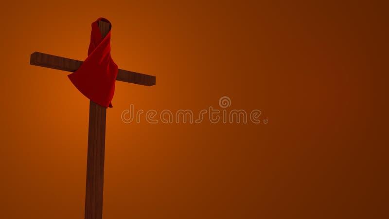 Красная ткань на деревянной перекрестной иллюстрации стоковые фото