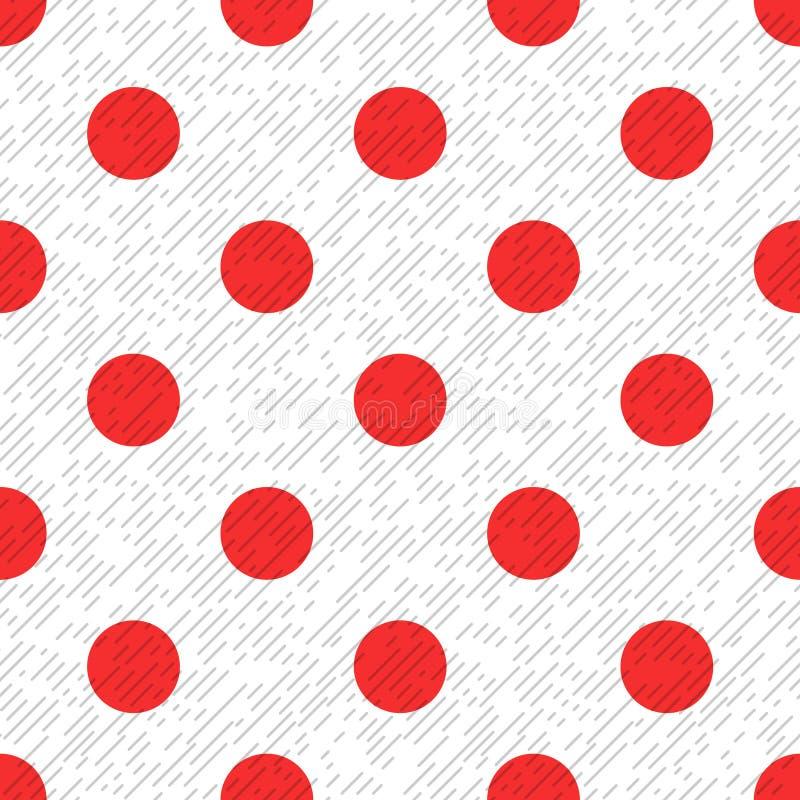 Красная точка польки на белой и серой текстурированной диагонали выравнивает картину ткани безшовную, вектор иллюстрация штока