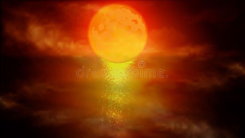 Красная луна над водой иллюстрация штока
