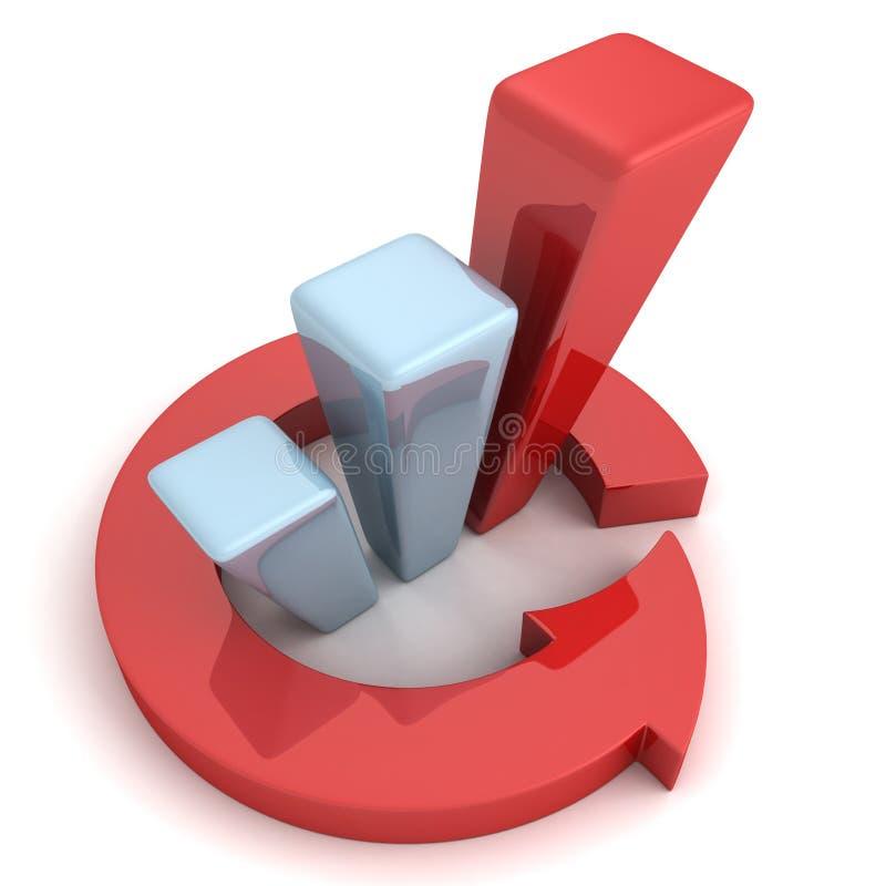 Красная финансовая диаграмма в виде вертикальных полос успеха с стрелкой цикла иллюстрация вектора