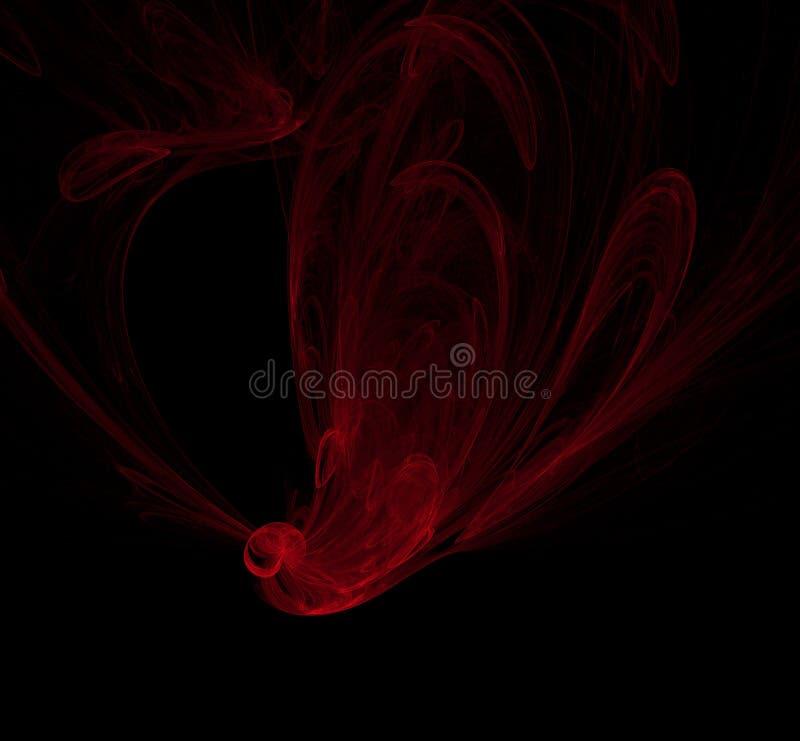 Красная фракталь на черной предпосылке Текстура фрактали фантазии twirl искусства abstact глубоко цифровой красный перевод 3d изо бесплатная иллюстрация