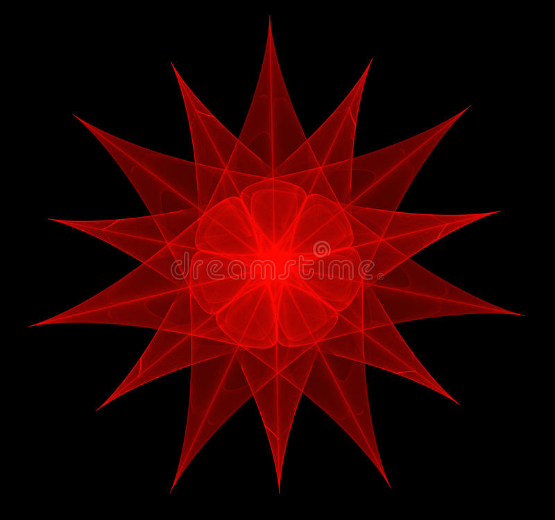 Красная фракталь звезд-цветка стоковое фото