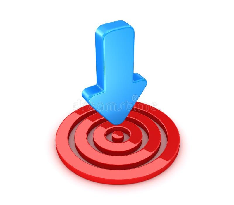 Красная цель с голубой стрелкой бесплатная иллюстрация