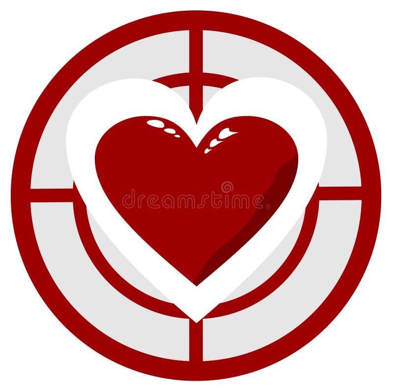Сердце в цели иллюстрация вектора
