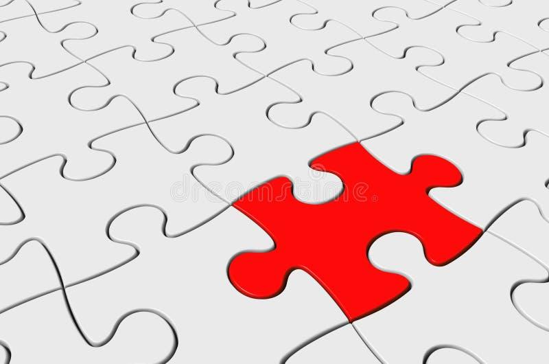 Красная часть введенная как решение к трудному зигзагу, головоломки перевод 3D бесплатная иллюстрация