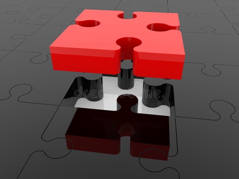 Красная часть головоломки на черной головоломке иллюстрация вектора