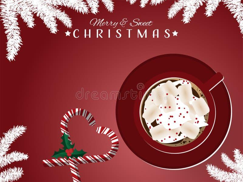 Красная чашка горячего шоколада с тросточками зефира и конфеты около ветви ягод падуба иллюстрация штока