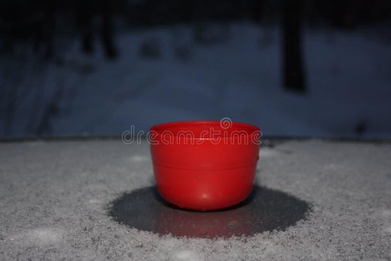 Красная чашка чаю на крыше стоковая фотография rf