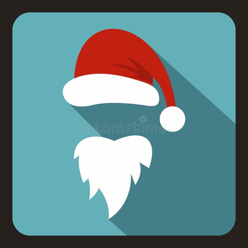 Красная шляпа и длинная борода значка Санта Клауса иллюстрация вектора