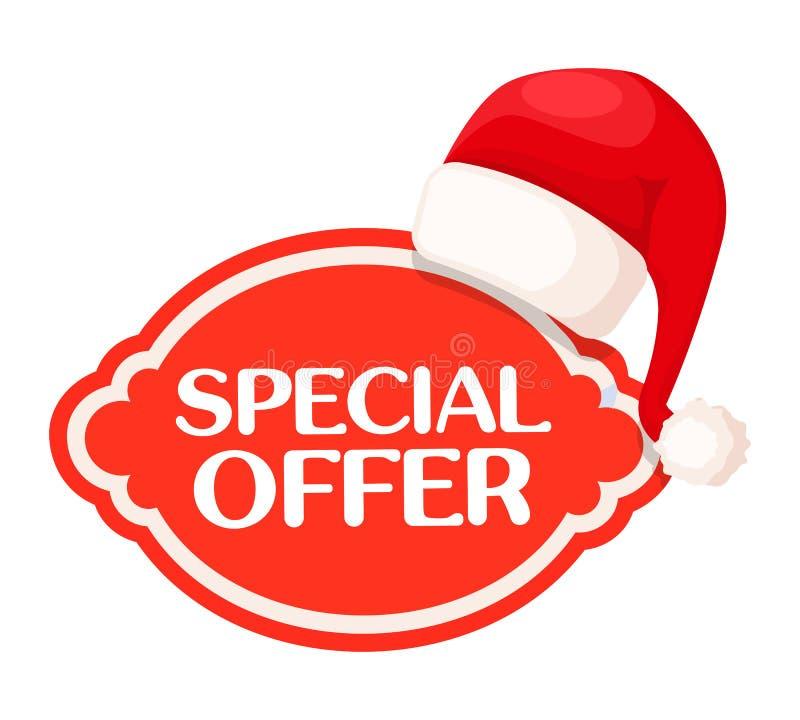 Красная этикетка специального предложения под шляпой Санта Клауса иллюстрация штока