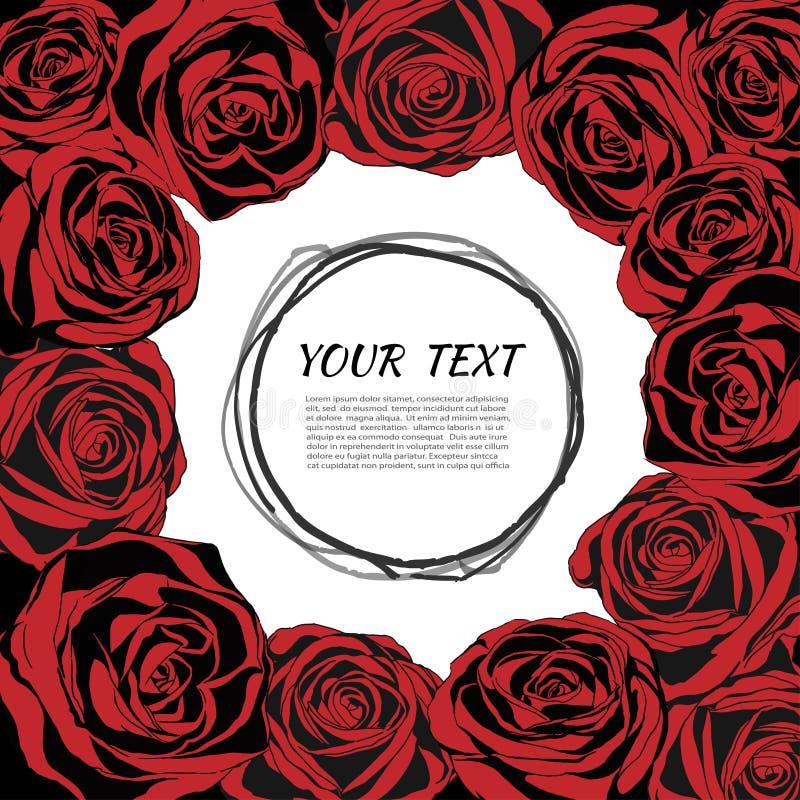 Красная элегантная рамка с розами вектор детального чертежа предпосылки флористический бесплатная иллюстрация