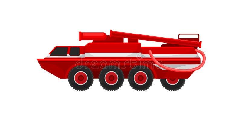 Красная armored тележка firefighting, иллюстрация вектора корабля чрезвычайного обслуживани на белой предпосылке иллюстрация штока