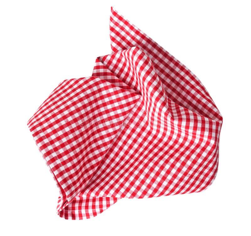 Красная checkered скомканная изолированная ткань стоковое изображение rf