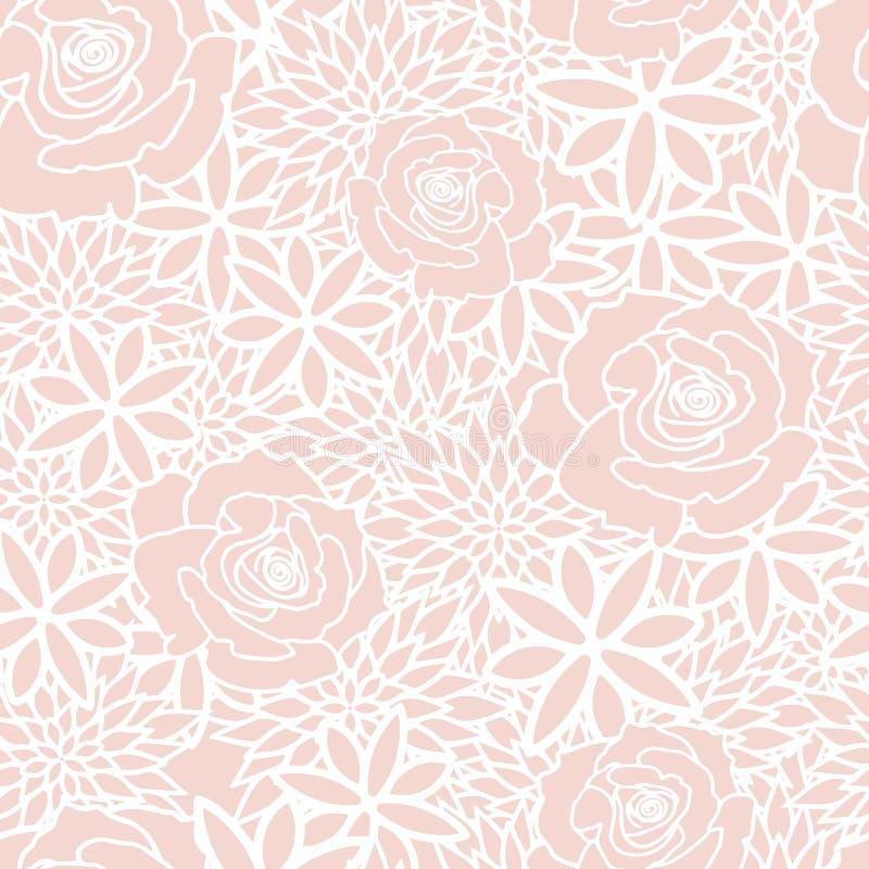 Краснеет картина флористического чаепития весны безшовная иллюстрация вектора