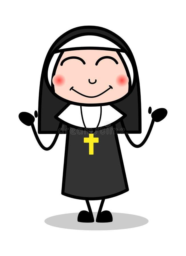 Краснеть - дама Вектор Иллюстрация монашки мультфильма иллюстрация штока