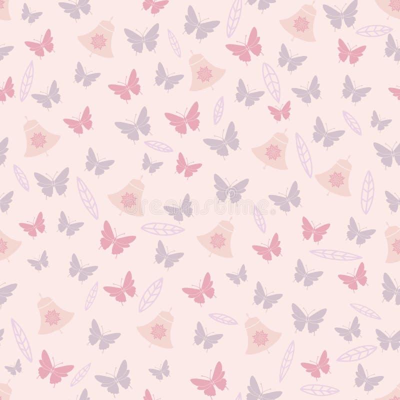 Краснеют листья цветков бабочки и колоколы скачут картина чаепития безшовная иллюстрация вектора