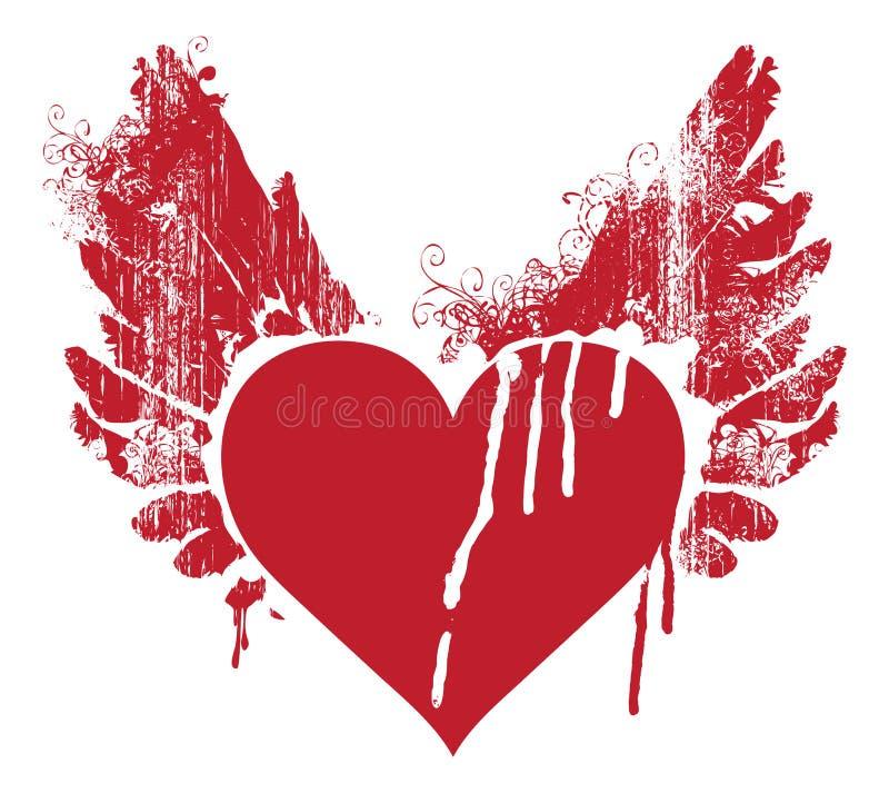 Красное абстрактное сердце летания с крылами и тонкими струйками бесплатная иллюстрация
