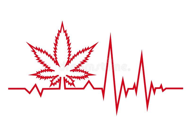 Красное биение сердца с медицинским marjuana o иллюстрация штока