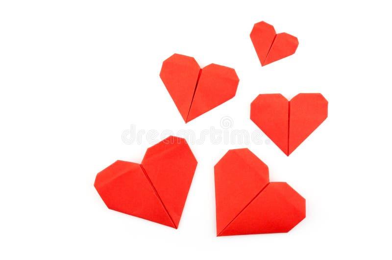 Красное бумажное сердце origami стоковые изображения rf