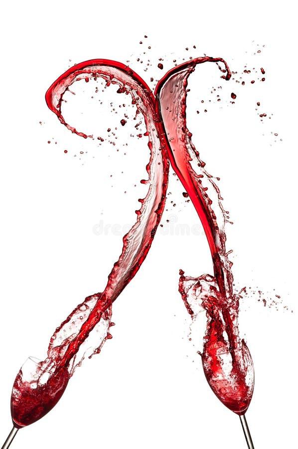 Красное вино брызгает стоковые фотографии rf