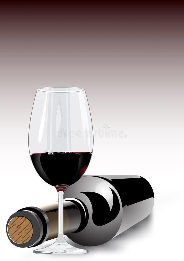 Красное вино в стекле и бутылке иллюстрация штока