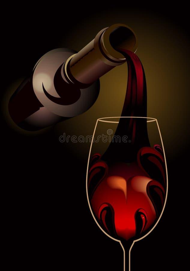 Красное вино лить в стекле иллюстрация вектора