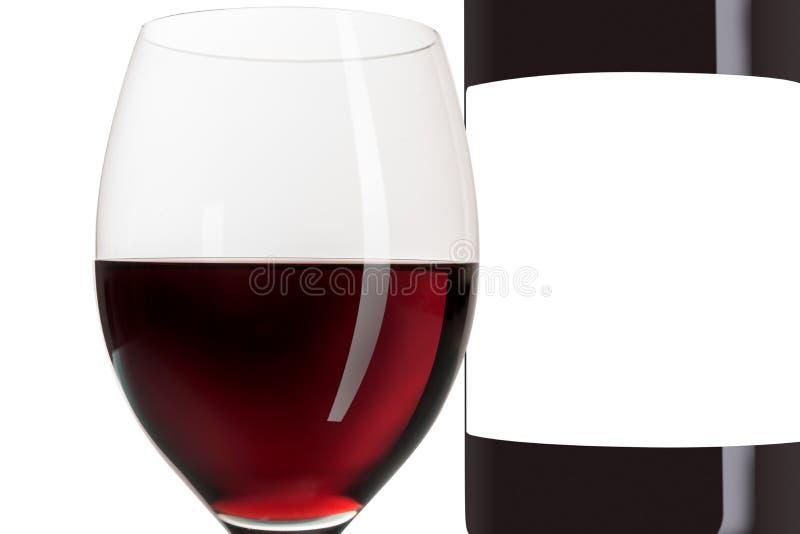 Красное вино и copyspace пустого ярлыка бутылки изолированное и белое стоковые изображения rf