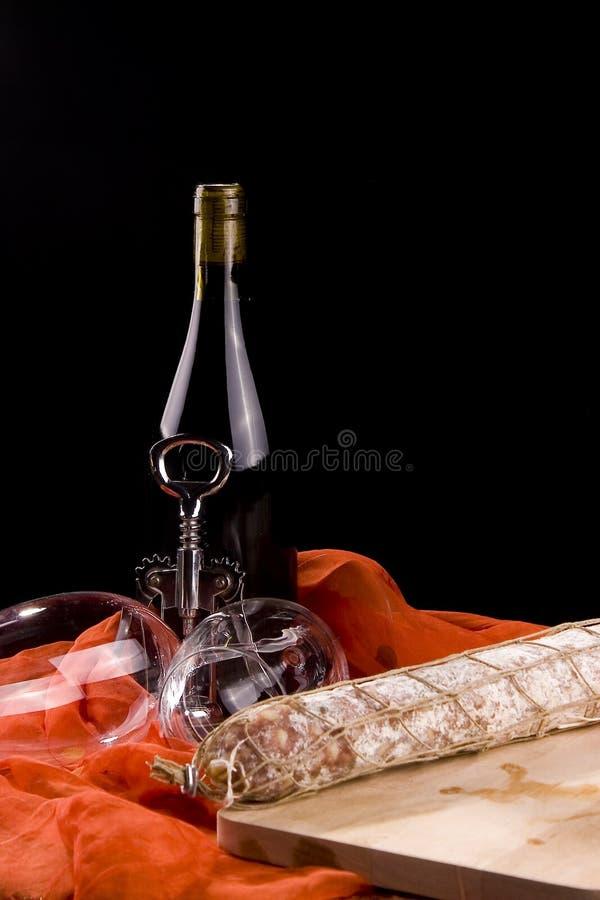 красное вино сосиски Стоковые Изображения