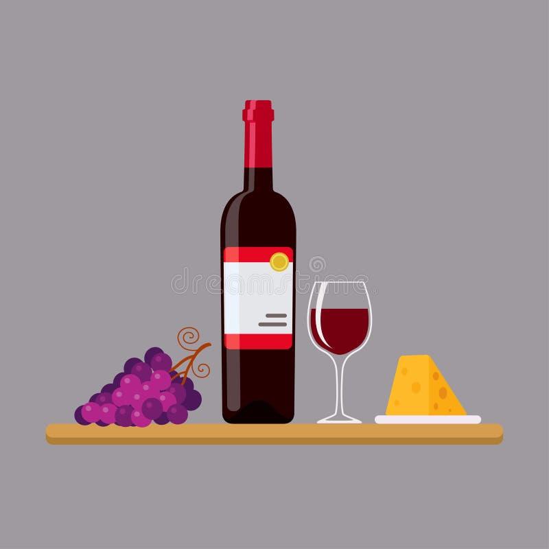 Красное вино, сыр и виноградины в плоском стиле бесплатная иллюстрация