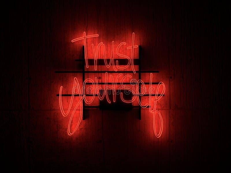 Красное доверие себя текста неоновой вывески : : иллюстрация штока
