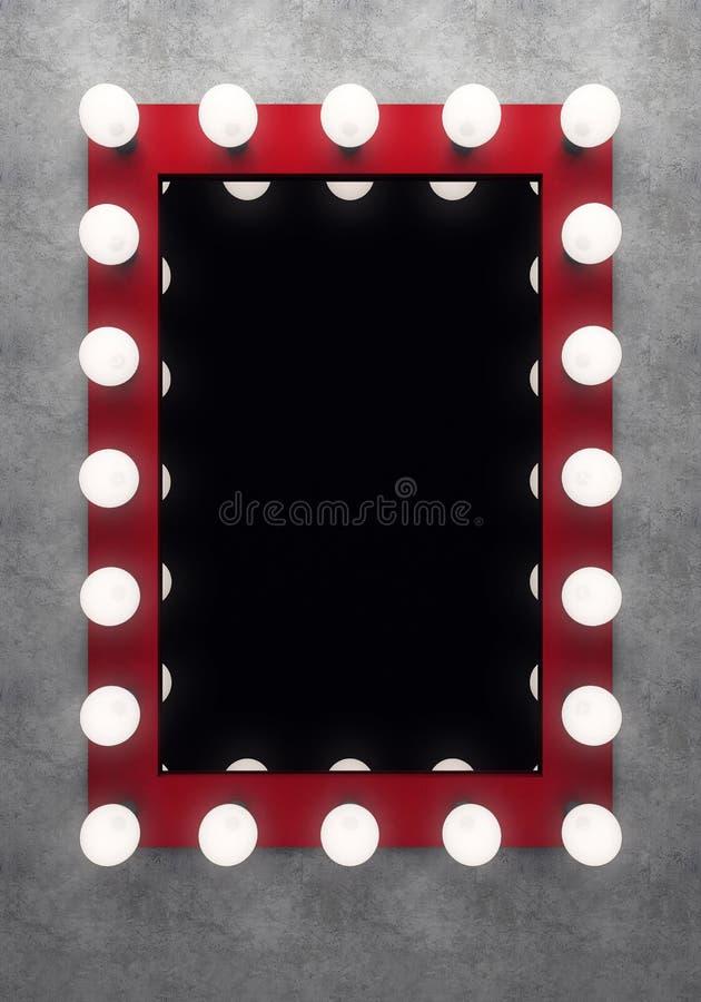 Красное зеркало состава на бетонной стене иллюстрация штока