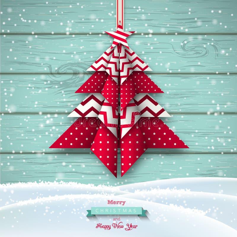 Красное и белое дерево chritmas origami, тема праздника, иллюстрация иллюстрация вектора