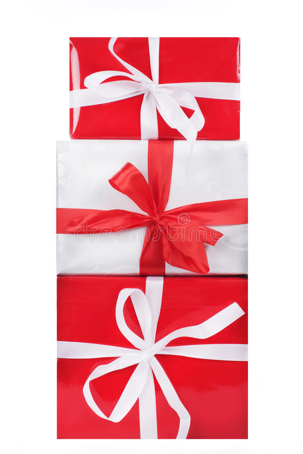 3 красное и белые подарочные коробки стоковое изображение rf