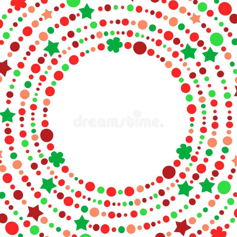 Красное и зеленое рождество отбортовывает венок круга строк, шаблон вектора бесплатная иллюстрация