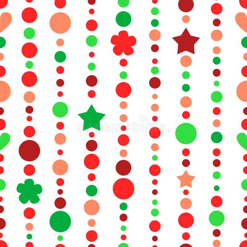 Красное и зеленое рождество отбортовывает строки, картину вектора безшовную бесплатная иллюстрация