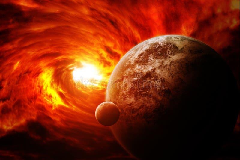 Красное межзвёздное облако в космосе с землей планеты иллюстрация штока