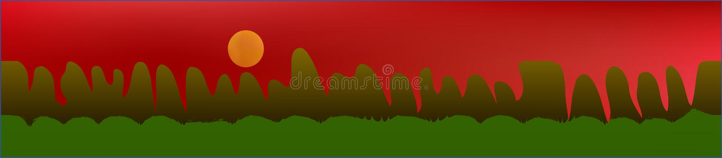 Красное небо, и ландшафт гор иллюстрация вектора