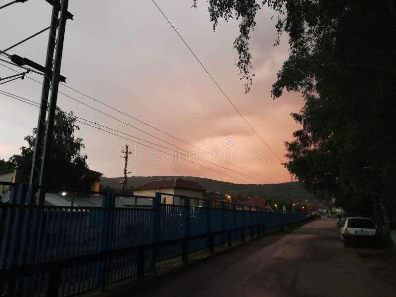 красное небо стоковые изображения rf