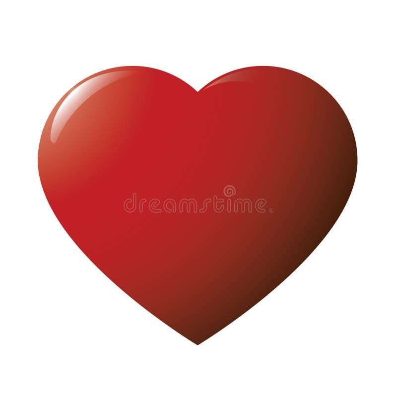 Красное лоснистое сердце иллюстрация штока