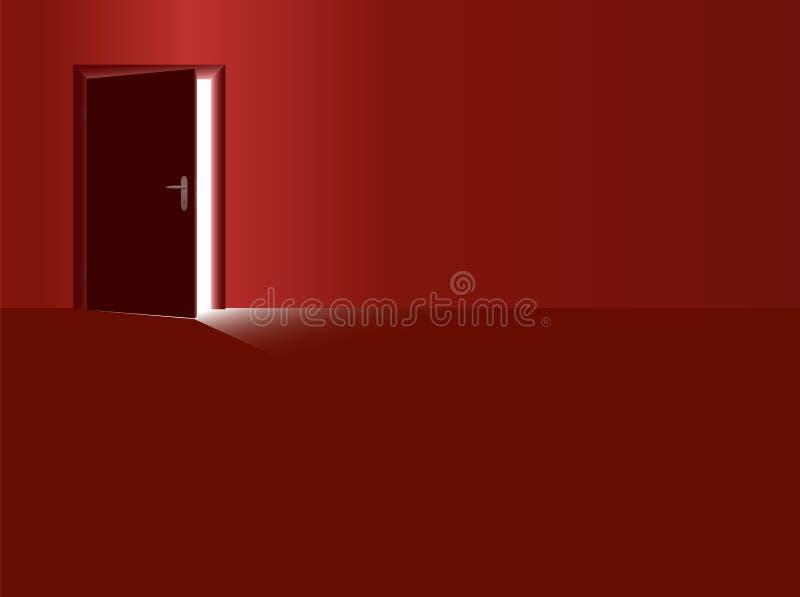 Красное падение открыть двери комнаты света иллюстрация штока