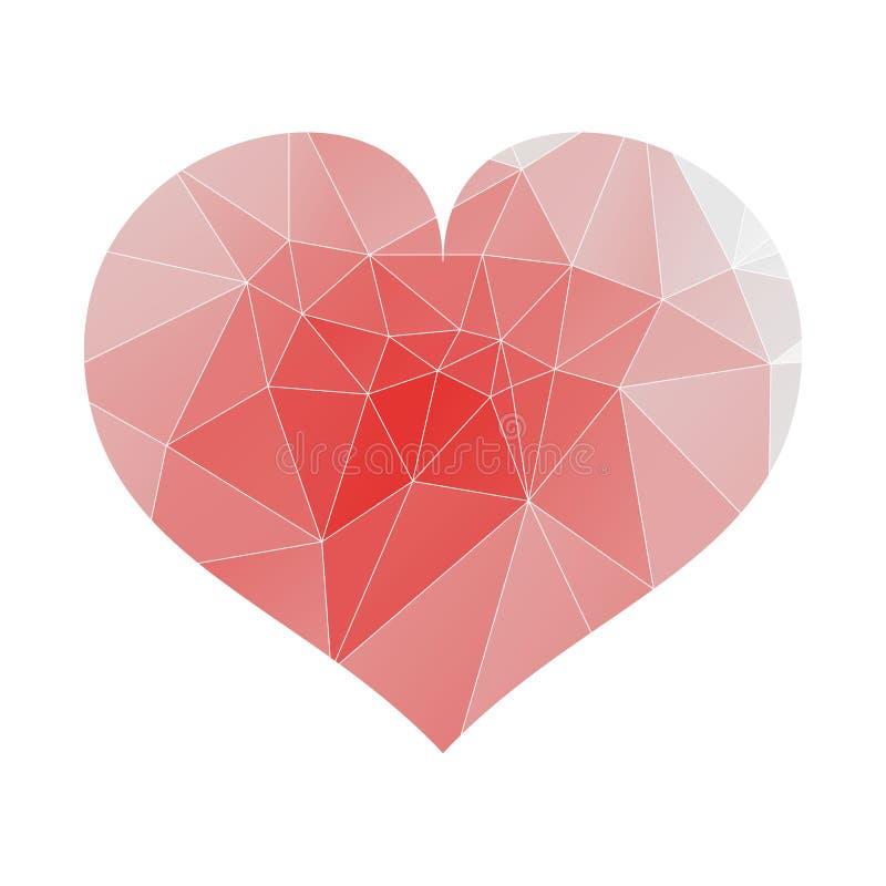Красное полигональное сердце на день Валентайн s Предпосылка вектора праздничная r иллюстрация вектора