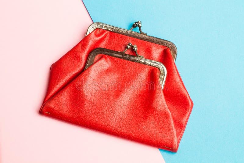 Красное портмоне монетки стоковая фотография rf