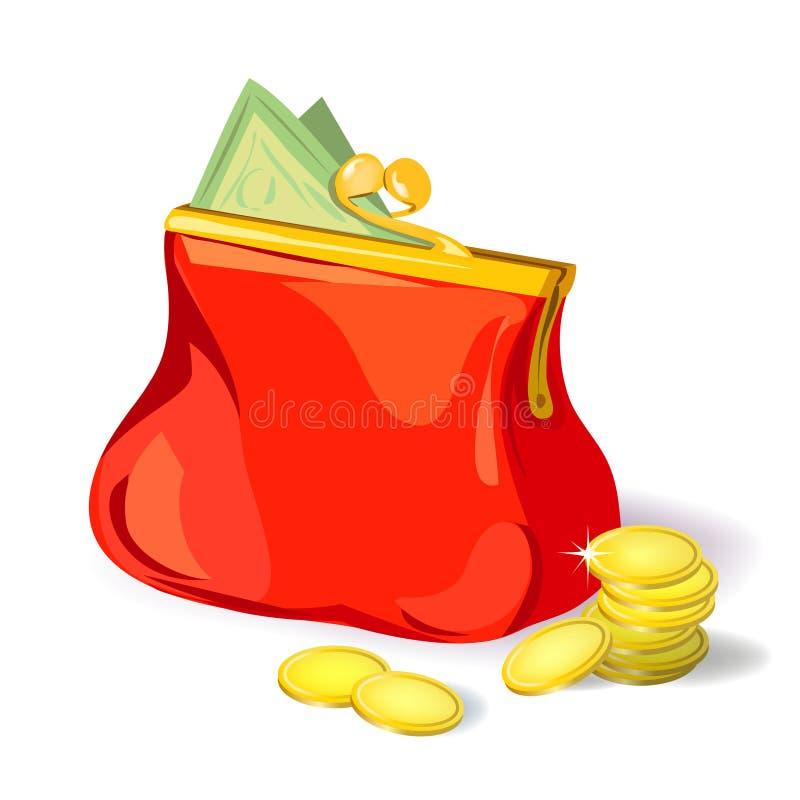 Красное портмоне с деньгами иллюстрация вектора