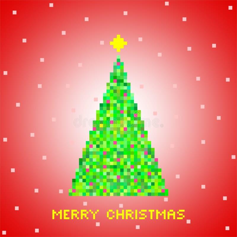Красное приветствие рождества от зеленой рождественской елки зеленых пикселов, малых зеленых квадратов с красными площадями с зве иллюстрация вектора