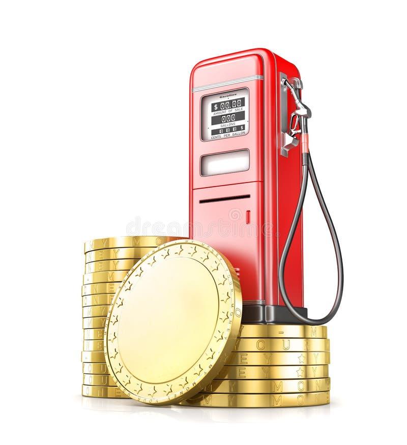 Красное ретро stsation газа с стогом монеток бесплатная иллюстрация