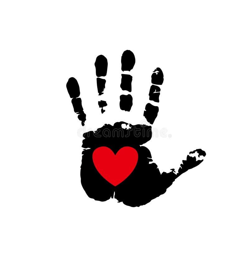 Красное сердце в черном palmprint изолированном на белизне иллюстрация вектора