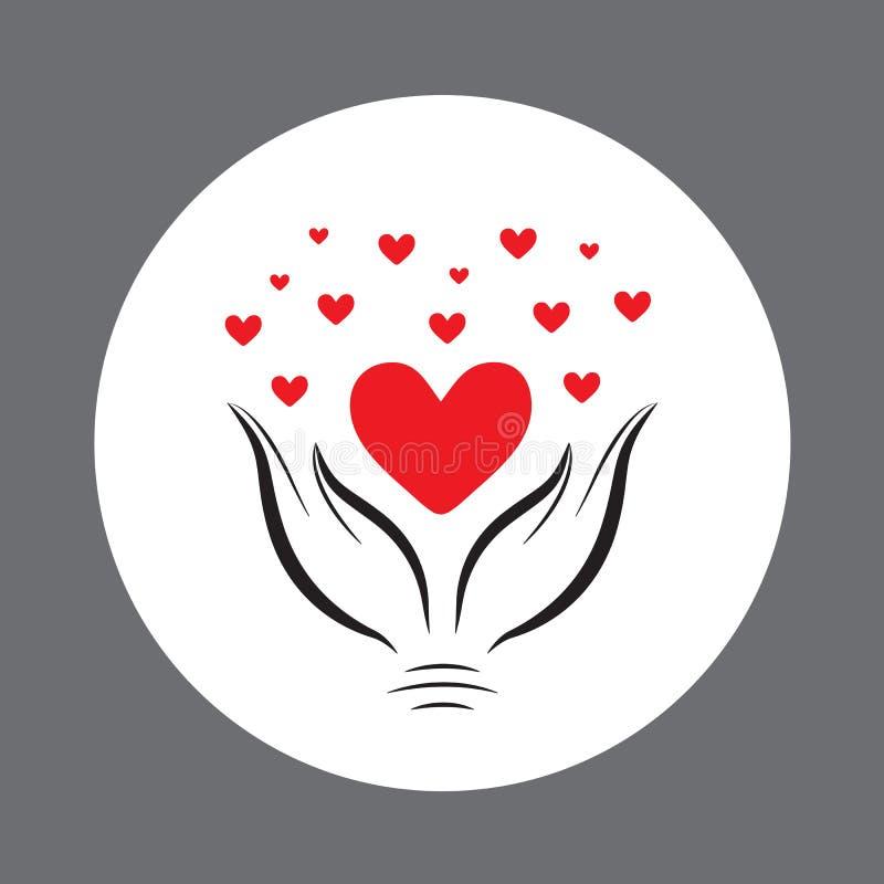Красное сердце в hand2 иллюстрация вектора