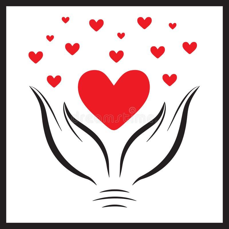 Красное сердце в hands1 иллюстрация штока