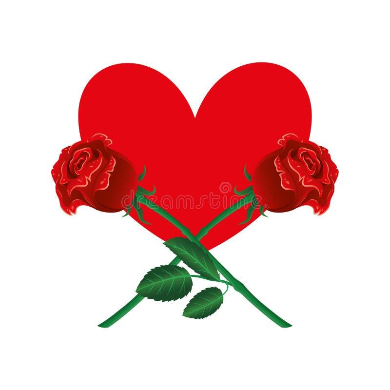Красное сердце и 2 розы бесплатная иллюстрация